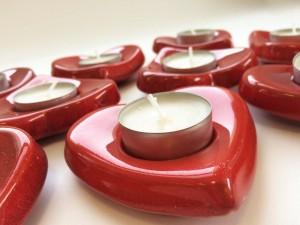 Cuori portacandela in ceramica e smalto rosso