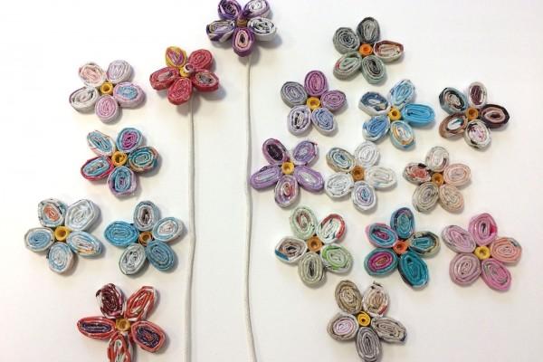 Finquì, i fiori in carta riciclata