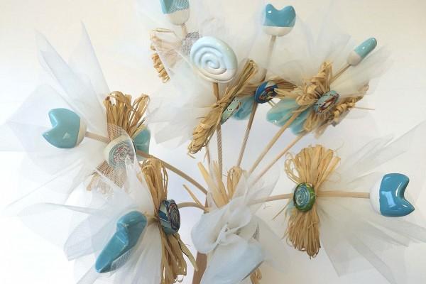 Fiori in ceramica con kit confetti morina