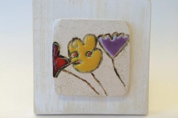 Mattonella su legno fiore