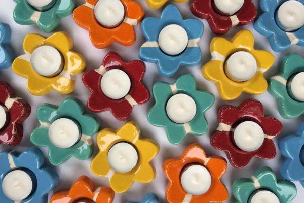 Portacandele Fiore in ceramica